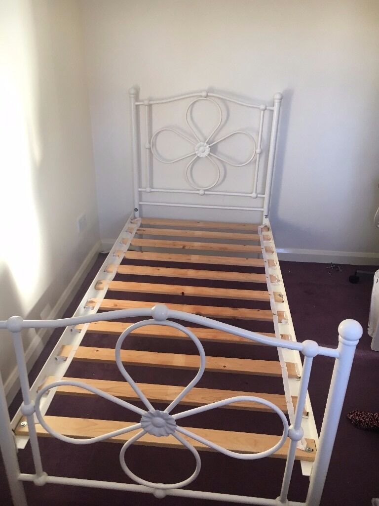 white metal bed frame single single white metal bed frame flower pattern to front and