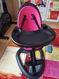 Ickle bubba highchair feeding chair pink on black