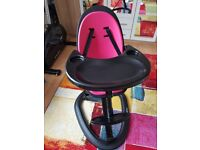 Ickle bubba highchair feeding chair pink on black