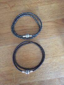 Pandora leather bracelets x2