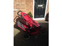 Phil and teds double buggy in red