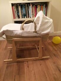 Moses basket and stand - white waffle