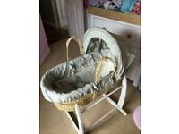 Moses basket & stand greys and dusky blue