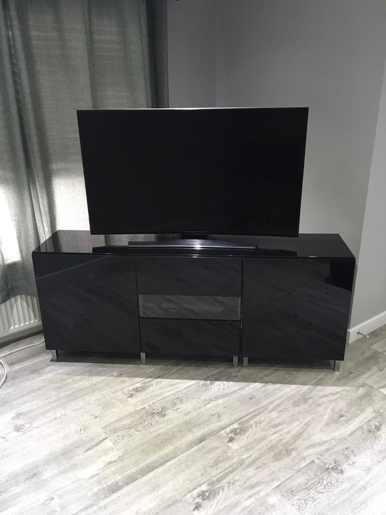 Gloss Black Ikea Besta Tv Unit / Stand