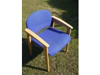 A pair of beech wood office/meeting room chairs