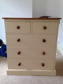 Large pine chest of drawers (cream)