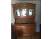 Solid oak dining room display cabinet