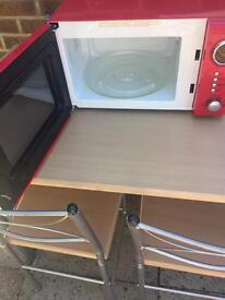 Table, chairs and microwave