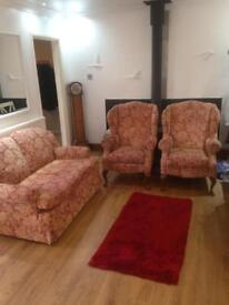 Cheap Two seater sofa and two wingback chairs