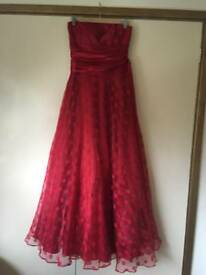 Red ball prom gown dress size 8-10 evening party long nearly New