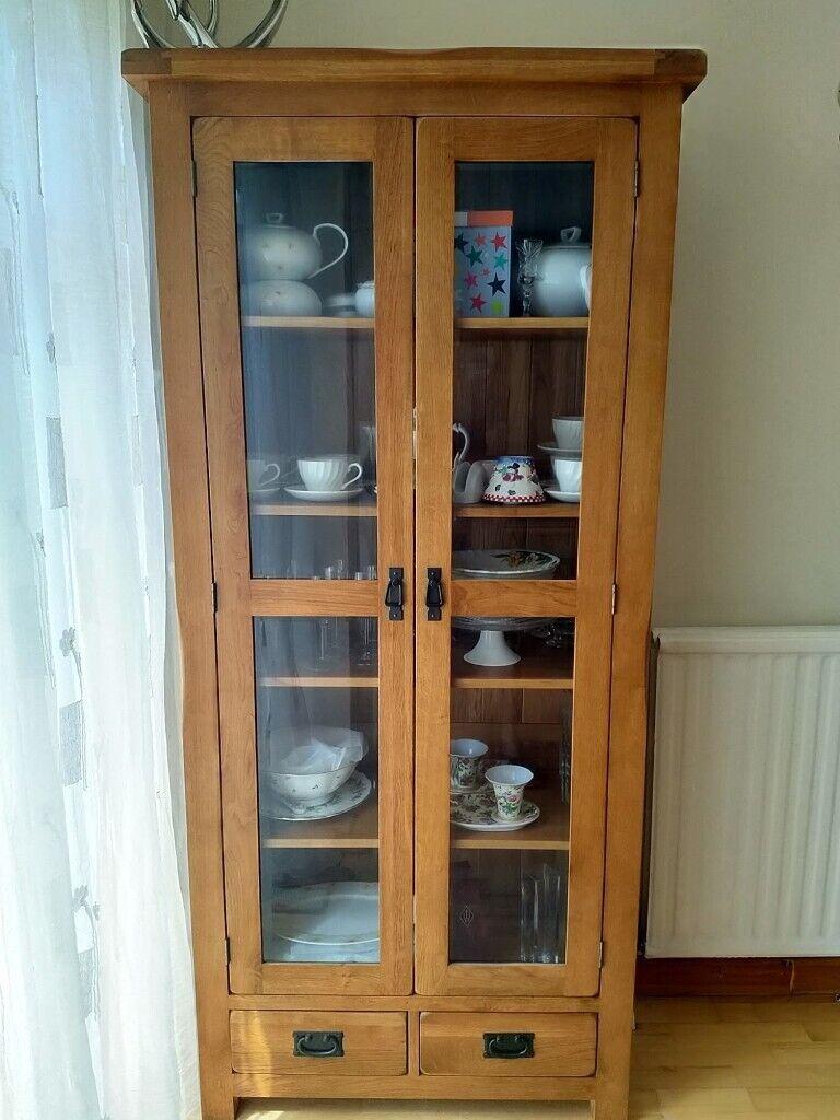 20 year old Solid Oak display cabinet   Gumtree