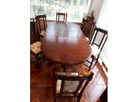 MAHOGANY DINING TABLE and OAK CHAIRS