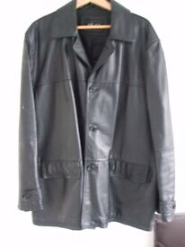 GENTS LEATHER JACKET, SOFT LEATHER WITH BLACK LINING, SIZE XL-XXL, IN