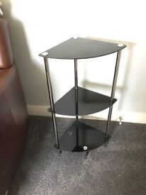 3 tier black glass stand