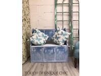 Handpainted storage bench blanket /toy box