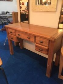 Premium Oak Furniture Dressing Table/Desk with drawers & Industrial Style Chair