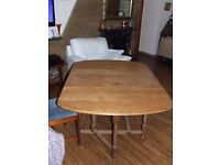 DINING TABLE SOLID STRIPPED OAK DROP LEAF EXCELLENT CONDITION FREE EDINBURGH DELIVERY