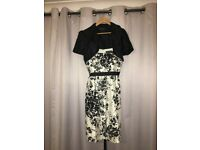 Designer Dress Jessica Howard Cream & Black Size 16 + FREE navy bolero