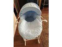 Baby blue Moses basket and stand
