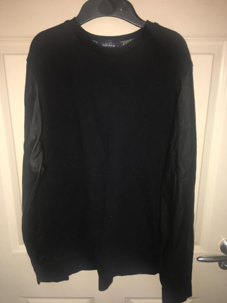 Mens Black top with leather sleeves