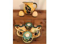 Spanish Ceramic Hand Painted Condiment Set.
