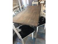 Shabby chic Table & 6 Cowhide Chairs
