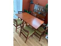 Mid Century folding dining table and 6 chairs (GPlan style)