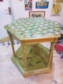 Handpainted side table.