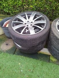 V.W. ALLOY WHEELS AND TYRES X 4