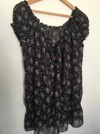 Summer top black & floral print size 14