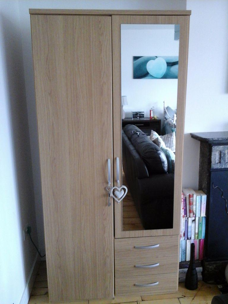 argos new hallingford 2 door mirrored wardrobe oak. Black Bedroom Furniture Sets. Home Design Ideas