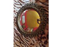 Exclusive Shop mirror Vintage Round Convex Fish Eye gold Ornate Gesso Framed Wall Mirror Gilt Finish