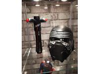 Star Wars the force awakens; Kylo Ren Helmet and Light saber