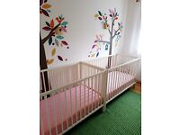 2x White GULLIVER, IKEA baby cots (ideal for twins)