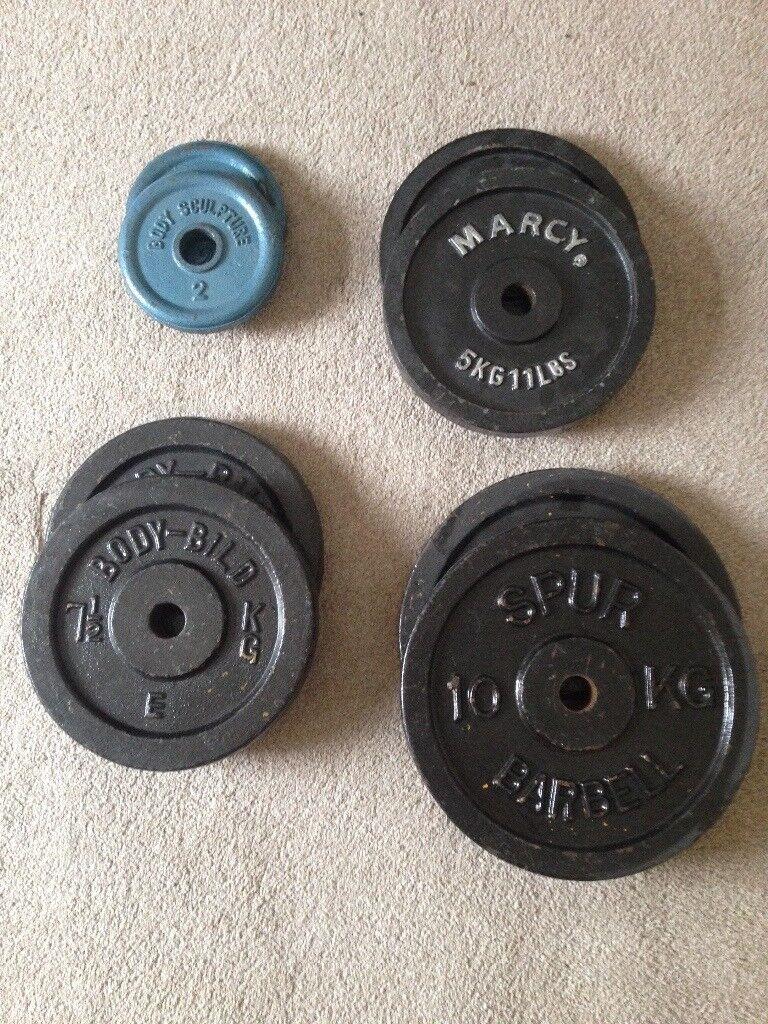 Weights Plates - 10kg x 2, 7.5kg x 2, 5kg x 2, 2kg x 2