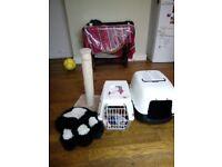 Cat Carrier, scratching post, litter house