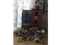 Kidkraft wooden Boys dolls house, fire station, police station