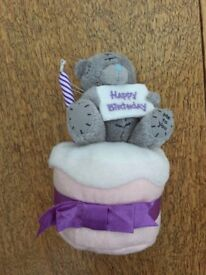 """Brand new with tag, Me to You Bear plush Teddy, sitting on top of a felt birthday cake, 3-5"""""""
