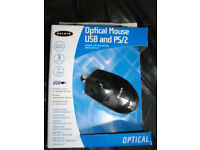 Belkin Optical Black 3 Button USB Mouse w/PS/2 Adapter