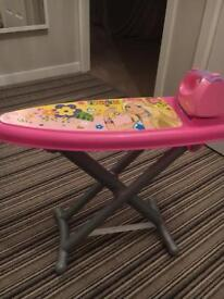 Barbie toy ironing board and iron