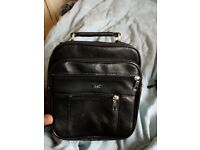Pouch with straps 3 station zips for storage brand new leather