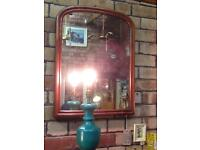 VINTAGE SHABBY CHIC RUSTIC COUNTRY HOUSE LARGE ARCHED WOODEN MIRROR