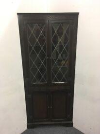 Oak Glass Fronted Corner Cupboard