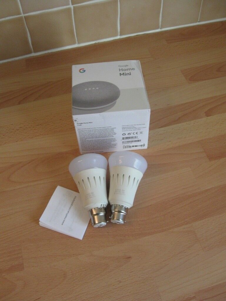 Google Home Mini And Two Smart Colour Changing Light Bulbs Will