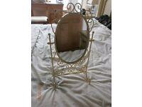 Pretty cream swivel mirror for dressing table