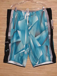 Mens-Size-38-Board-Shorts-By-SIDEOUT-Black-Blue-NWT-44