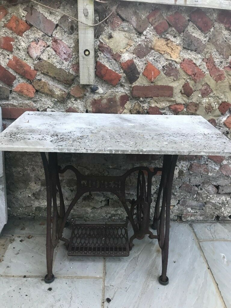 Vintage Cast Iron Jones Sewing Machine Table Base With Marble Top