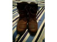 Brown leather mens biker boots size 11