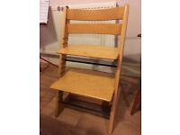 Stokke Tripp Trapp chair, beech colour, well used, in good condition, clean