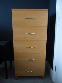Solid Oak Wood Tall Modern Chest of 5 Drawers Chrome Handles Tallboy